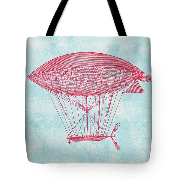 Red Zeppelin - Retro Airship Tote Bag