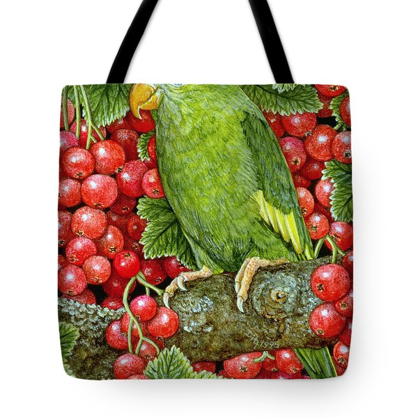 Redcurrant Parakeet Tote Bag by Ditz