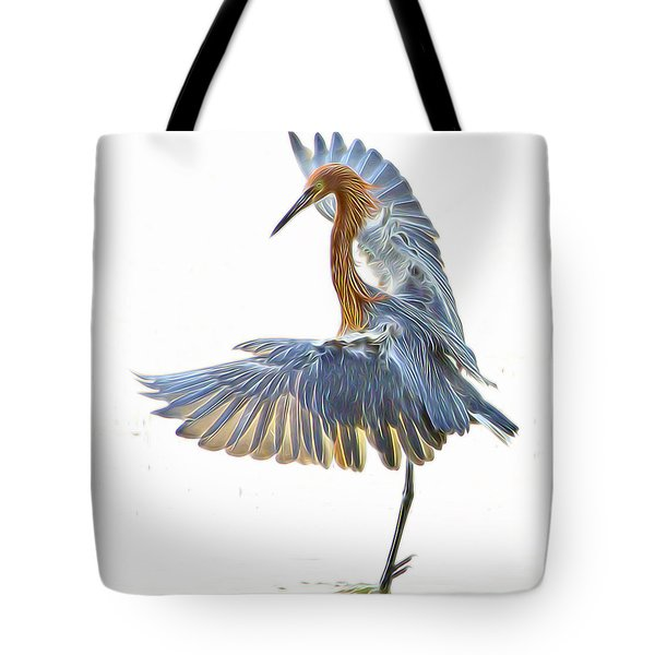 Tote Bag featuring the digital art Reddish Egret 1 by William Horden