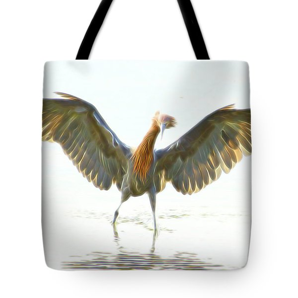 Tote Bag featuring the digital art Reddish Egret 2 by William Horden