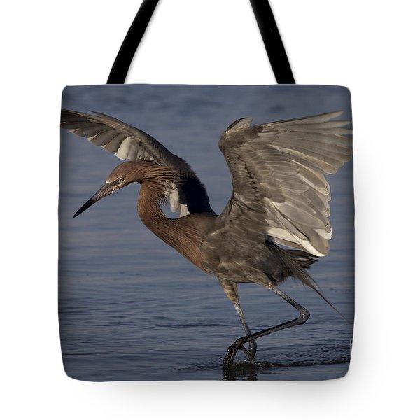 Reddish Egret Fishing Tote Bag by Meg Rousher