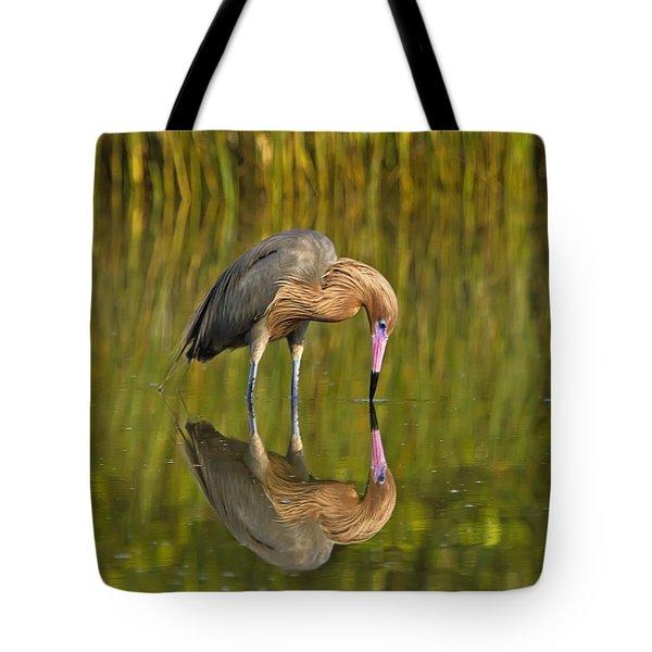 Reddish Egret Reflection Tote Bag