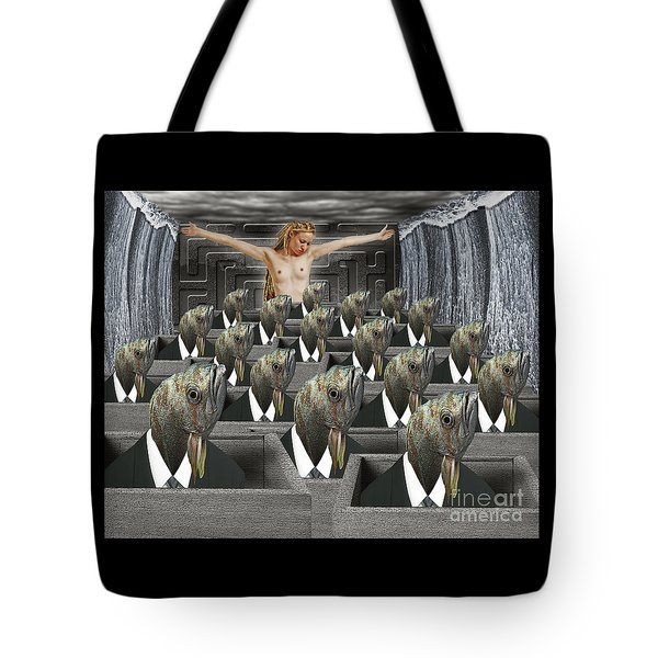 Redemption On The Cube Farm Tote Bag by Keith Dillon