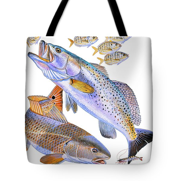 Redfish Trout Tote Bag by Carey Chen