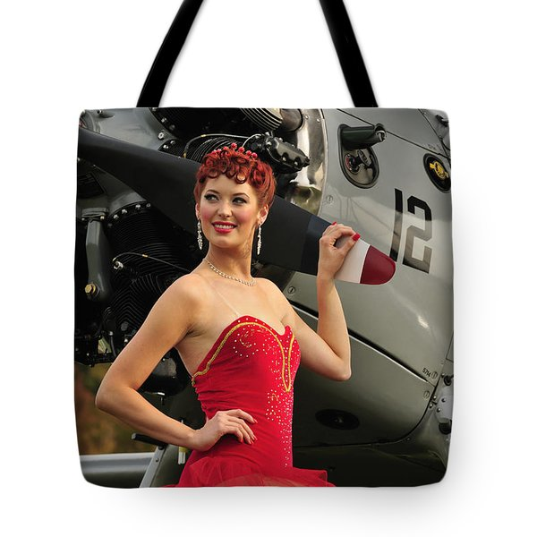 Redhead Pin-up Girl In 1940s Style Tote Bag by Christian Kieffer