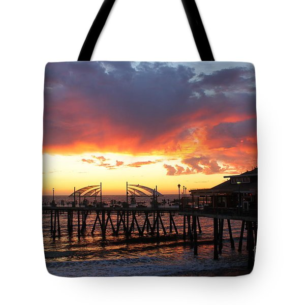 Redondo Pier Sunset Tote Bag