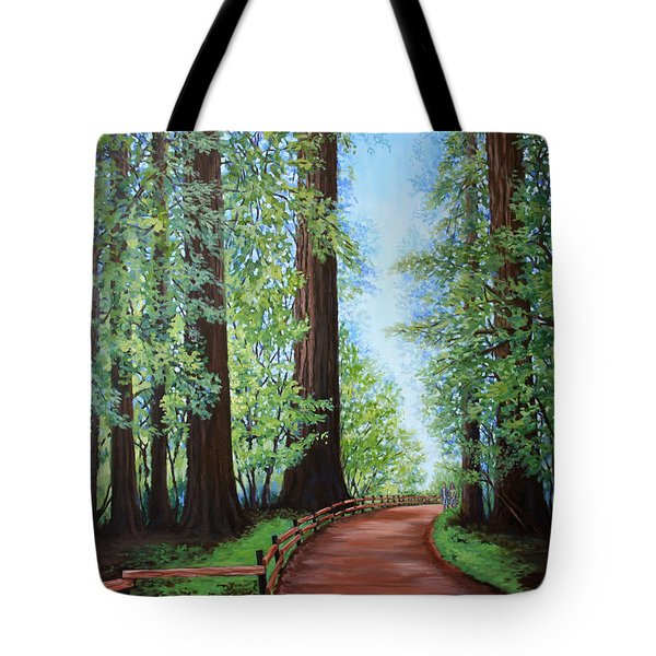 Tote Bag featuring the painting Redwood Forest Path by Penny Birch-Williams