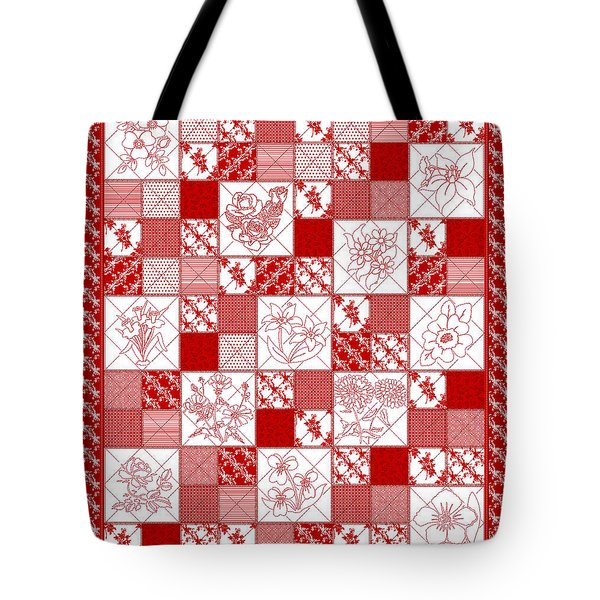 Tote Bag featuring the digital art Redwork Floral Quilt by Margaret Newcomb