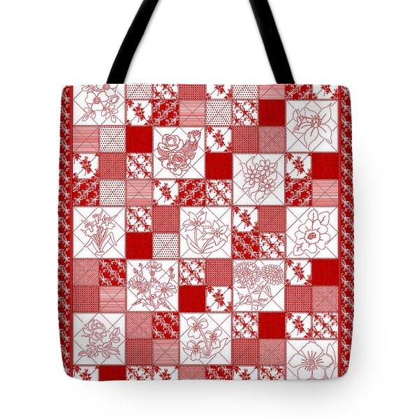 Redwork Floral Quilt Tote Bag