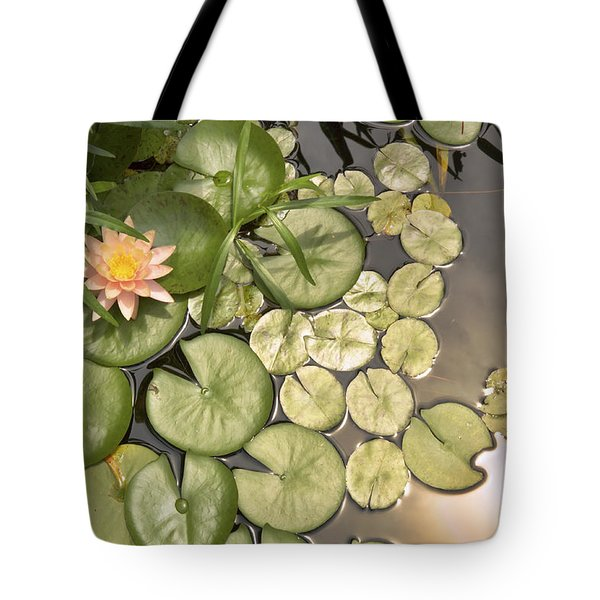 Reflected Light Upon Flowering Water Lilies Tote Bag
