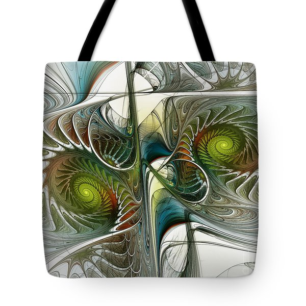 Reflected Spirals Fractal Art Tote Bag