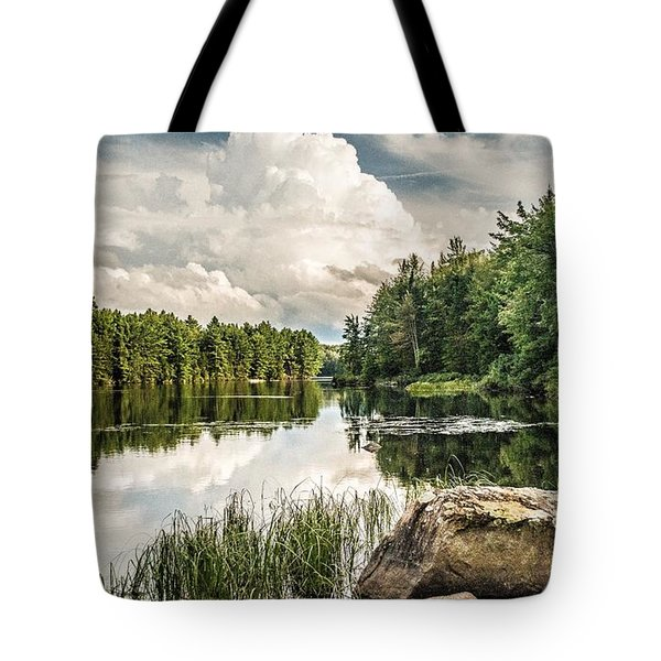 Tote Bag featuring the photograph Reflection Lake In New York by Debbie Green