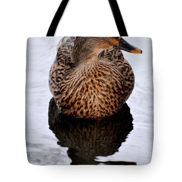Tote Bag featuring the photograph Reflection Of A Duck by Debby Pueschel