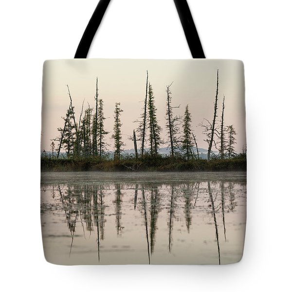 Reflection Of Coniferous Trees Tote Bag