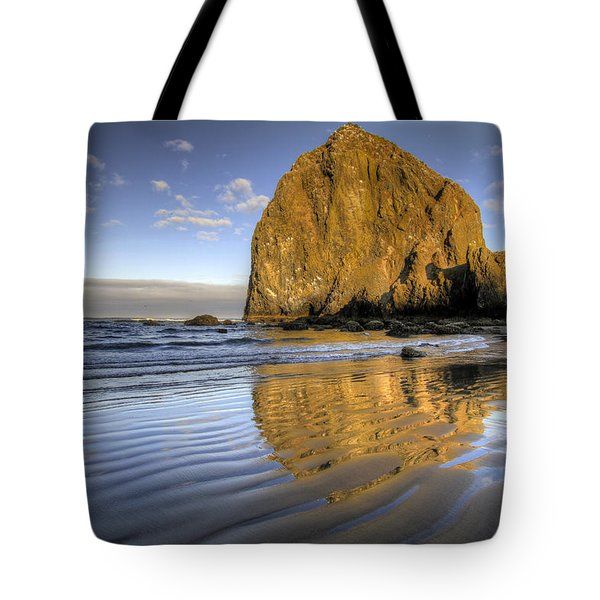 Reflection Of Haystack Rock At Cannon Beach 2 Tote Bag