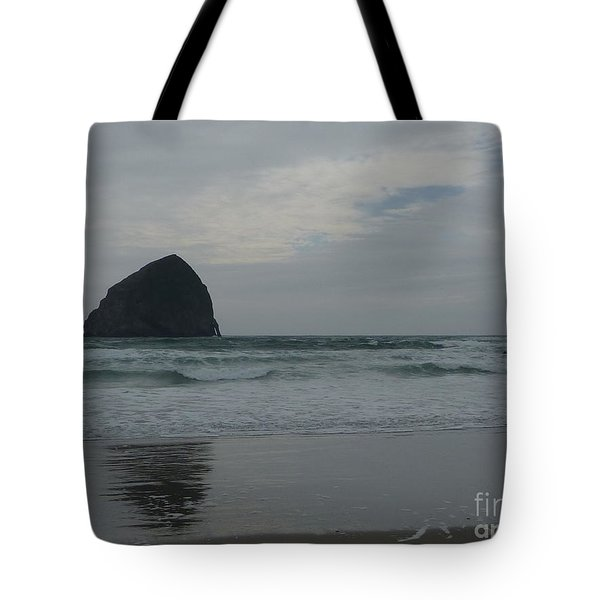 Tote Bag featuring the photograph Reflection Of Haystock Rock  by Susan Garren