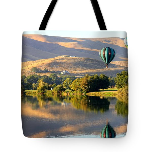 Reflection Of Prosser Hills Tote Bag by Carol Groenen