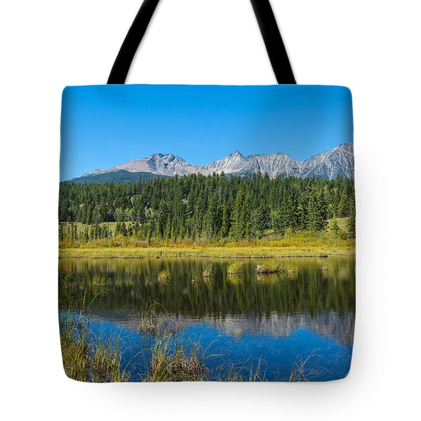Reflection Of Pyramid Mountain Tote Bag
