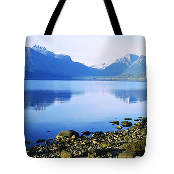 Reflection Of Rocks In A Lake, Mcdonald Tote Bag by Panoramic Images