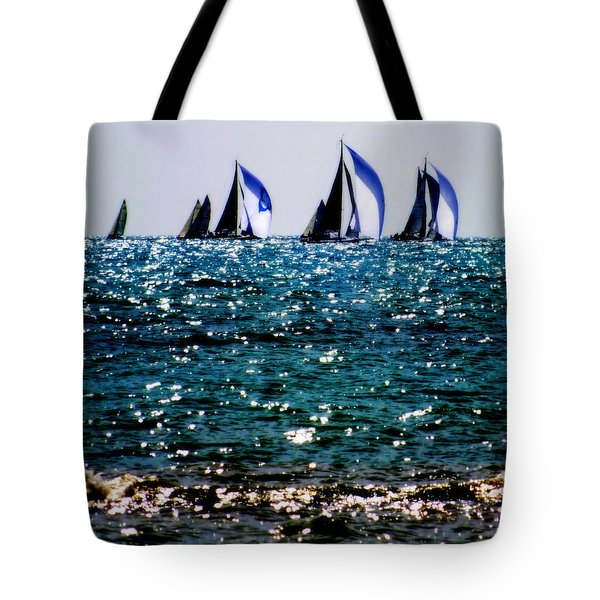 Reflection Of Sails Tote Bag by Karen Wiles