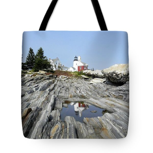 Reflection Of The Lighthouse Tote Bag