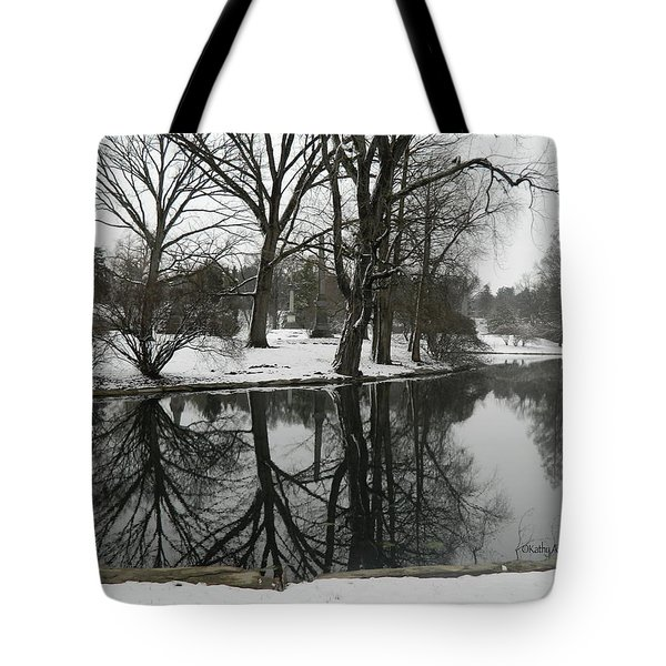 Tote Bag featuring the photograph Reflection Pond Spring Grove Cemetery by Kathy Barney
