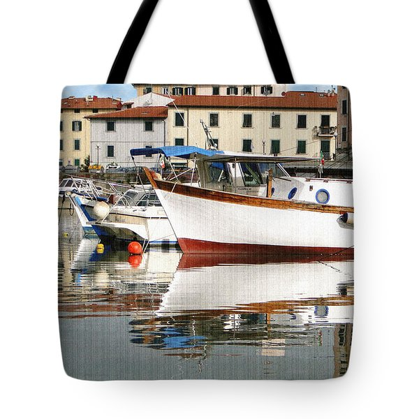 Tote Bag featuring the photograph Reflections Along The Canal by Sue Melvin