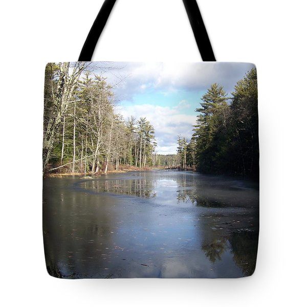 Reflections Caught On Ice At A Pretty Lake In New Hampshire Tote Bag by Eunice Miller