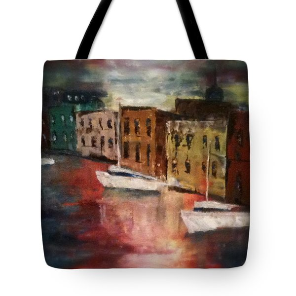 Tote Bag featuring the painting Reflections by Denise Tomasura