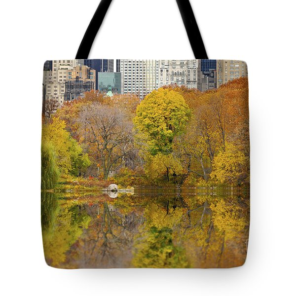 Reflections In Central Park New York City Tote Bag by Sabine Jacobs
