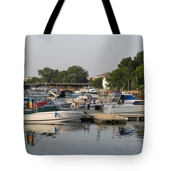 Reflections In The Small Boat Harbor Tote Bag by Kay Novy