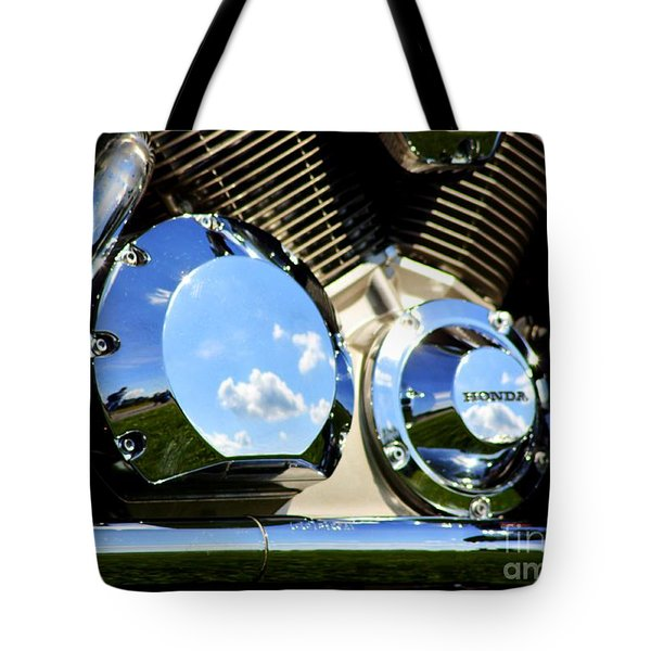 Reflections In The V Twin Tote Bag by Patti Whitten
