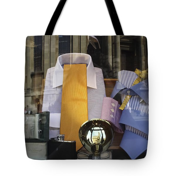Tote Bag featuring the photograph Reflections Of A Gentleman's Tailor by Terri Waters