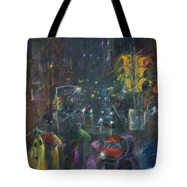 Reflections Of A Rainy Night Tote Bag by Leela Payne