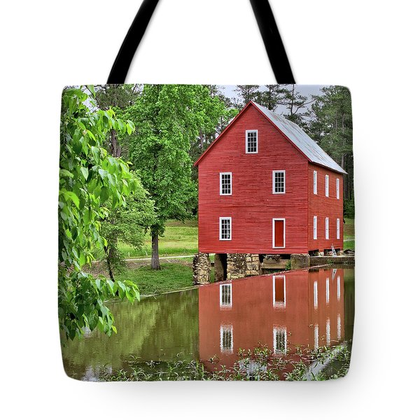 Reflections Of A Retired Grist Mill - Square Tote Bag