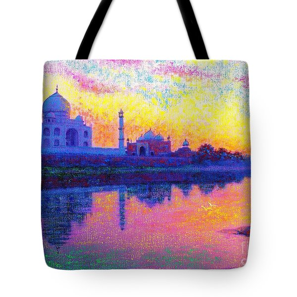 Taj Mahal, Reflections Of India Tote Bag