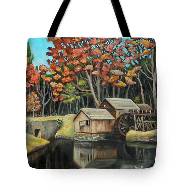 Reflections Of Mabry Mill Tote Bag by Eve  Wheeler