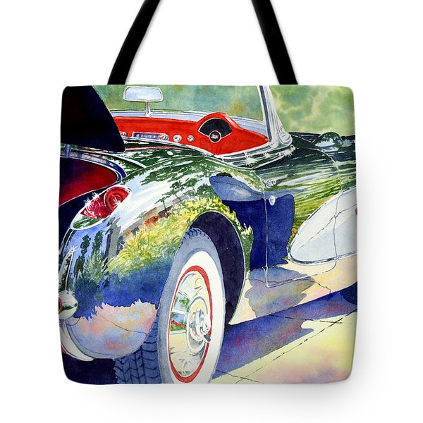 Reflections On A Corvette Tote Bag by Roger Rockefeller