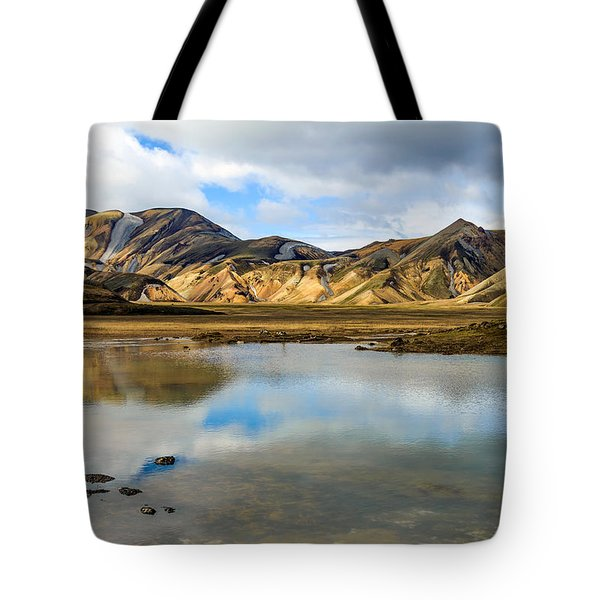 Tote Bag featuring the photograph Reflections On Landmannalaugar by Peta Thames