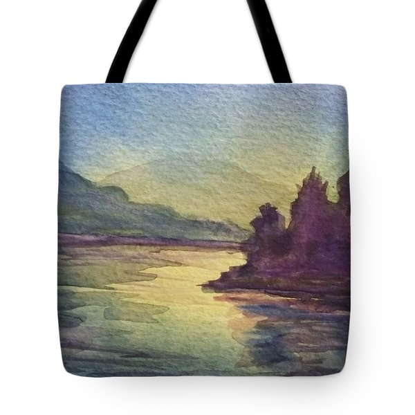 Tote Bag featuring the painting Reflections On North South Lake by Ellen Levinson