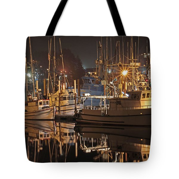Reflections On The Bay Tote Bag by Kim Mobley