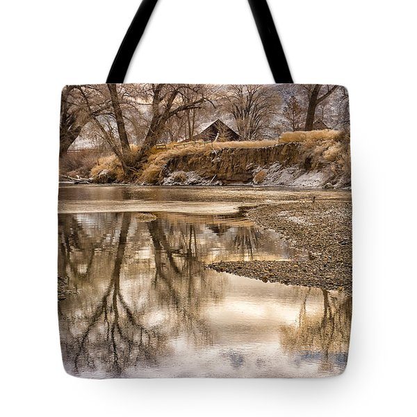 Tote Bag featuring the photograph Reflections On The Truckee by Janis Knight