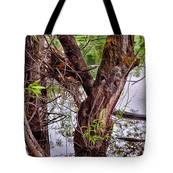 Reflective Trees In A Lake Tote Bag by Omaste Witkowski