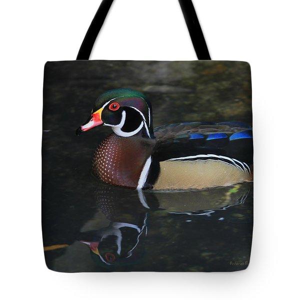 Reflective Wood Duck Tote Bag by Deborah Benoit