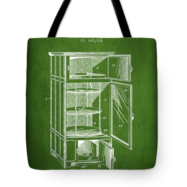 Refrigerator Patent From 1901 - Green Tote Bag