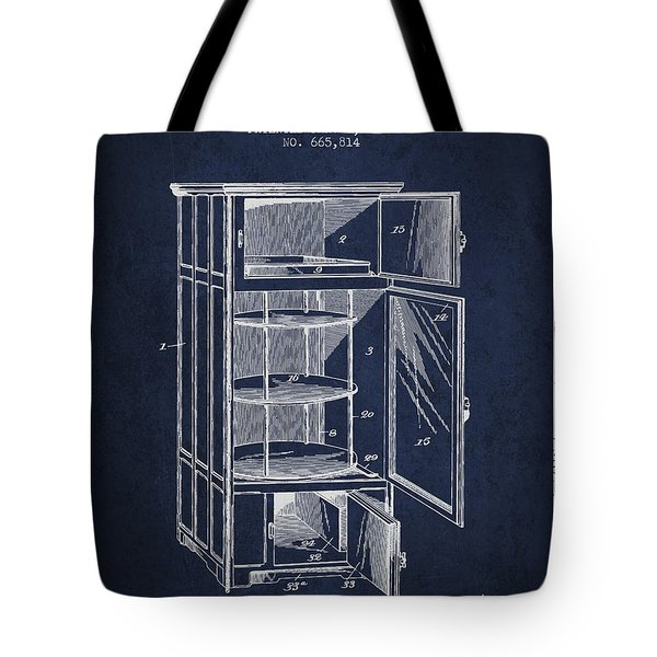 Refrigerator Patent From 1901 - Navy Blue Tote Bag