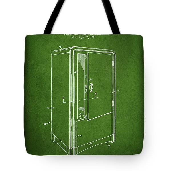 Refrigerator Patent From 1942 - Green Tote Bag