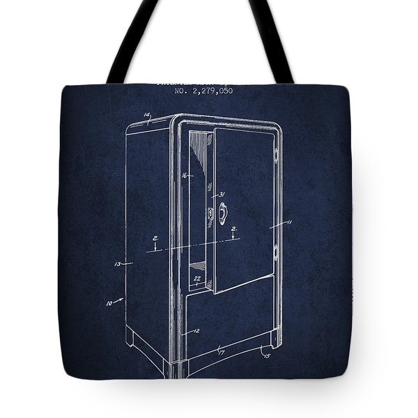Refrigerator Patent From 1942 - Navy Blue Tote Bag