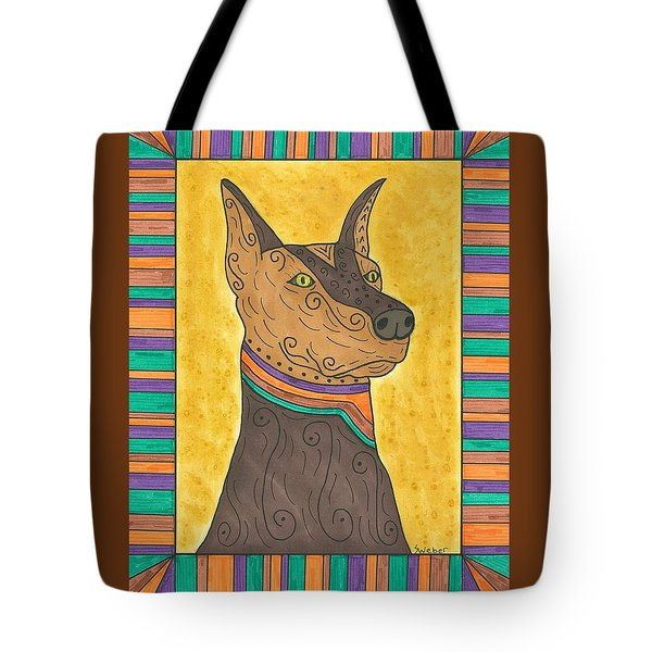 Tote Bag featuring the painting Regal Doberman by Susie Weber
