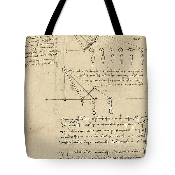 Register Of Milan Cathedral Weight And Study Of Relationship Between Position Of Beam Tote Bag by Leonardo Da Vinci